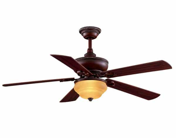 Clarington 52 in. Indoor Gilded Mahogany Ceiling Fan