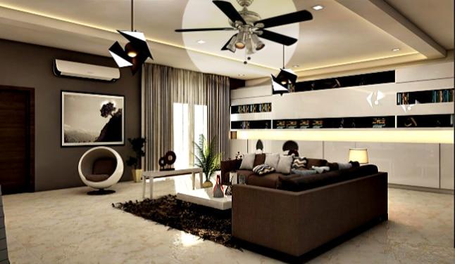 Hampton Bay Redington IV Ceiling Fan in Modern Room