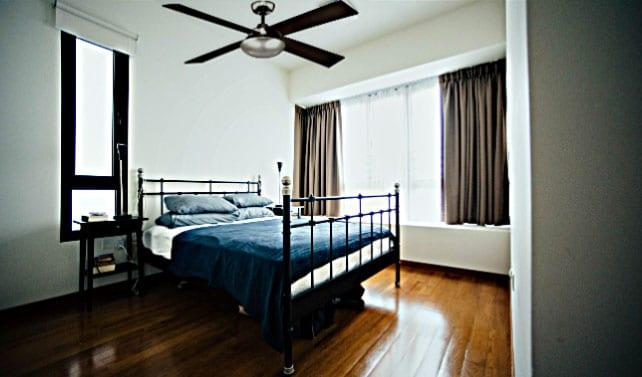 Hampton Bay Spoletto II Liquid Nickel Ceiling Fan in Bedroom
