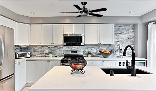 Hampton Bay Vercelli Ceiling Fan in Kitchen