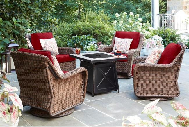 Cambridge Brown Wicker Outdoor Patio Swivel Rocking Chair