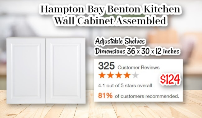 Hampton Bay Benton Kitchen Wall Cabinet Assembled