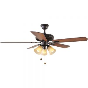Hampton Bay Glendale 52 in. Indoor Oil Rubbed Bronze Ceiling Fan with Light Kit
