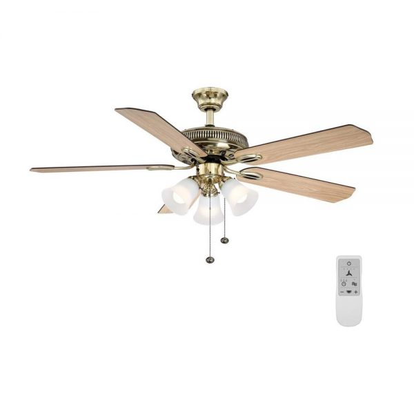 Hampton Bay Glendale 52 in. LED Flemish Brass Ceiling Fan with Light Kit and WiFi Remote Control works with Google and Alexa