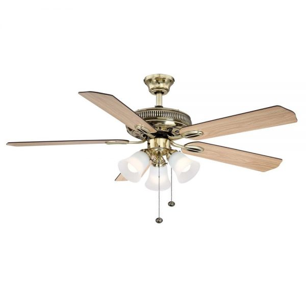 Hampton Bay Glendale 52 in. LED Indoor Flemish Brass Ceiling Fan with Light Kit