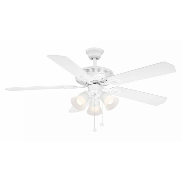 Hampton Bay Glendale 52 in. LED Indoor White Ceiling Fan with Light Kit