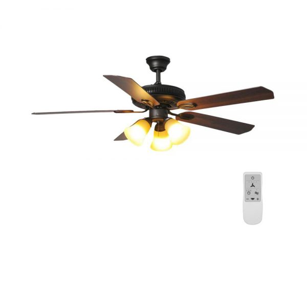 Hampton Bay Glendale 52 in. LED Oil-Rubbed Bronze Ceiling Fan with Light and WiFi Remote Control works with Google and Alexa