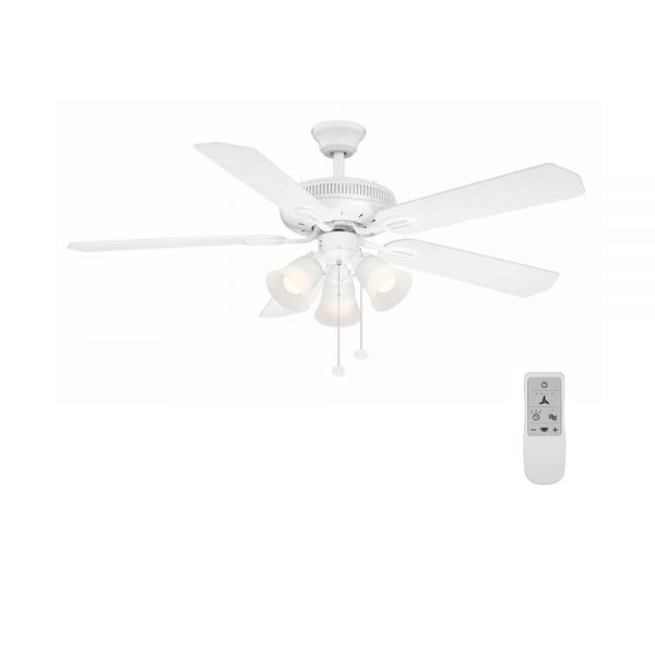 Hampton Bay Glendale 52 in. LED White Ceiling Fan with Light Kit and WiFi Remote Control works with Google and Alexa