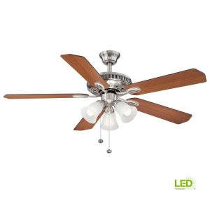 Hampton Bay Glendale II 52 in. LED Brushed Nickel Ceiling Fan