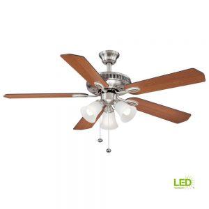 Hampton Bay Glendale II 52 in. LED Brushed Nickel Ceiling Fan