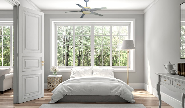 Hampton Bay Gossamer Ceiling Fan in Master Room