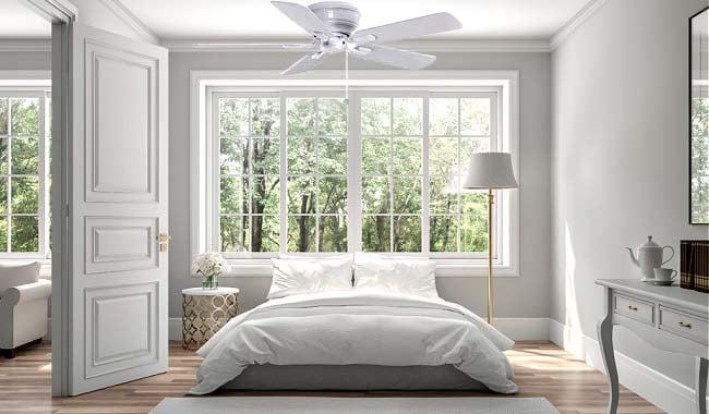 Hampton Bay Hawkins White 44 in Ceiling Fan in Bedroom