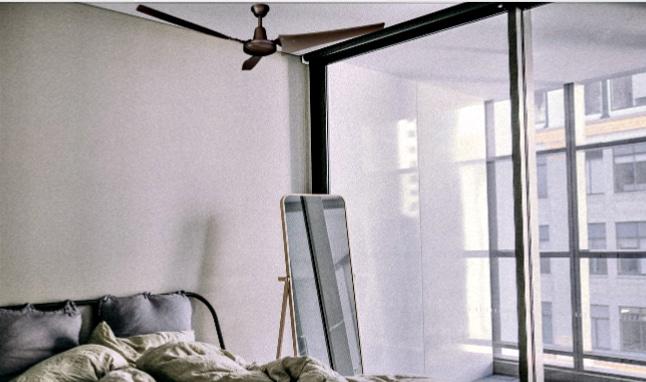 Hampton Bay Industrial Ceiling Fan in Bedroom
