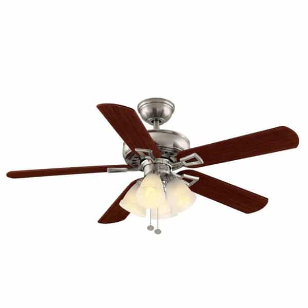 Hampton Bay Lyndhurst 52 in. Indoor Brushed Nickel Ceiling Fan