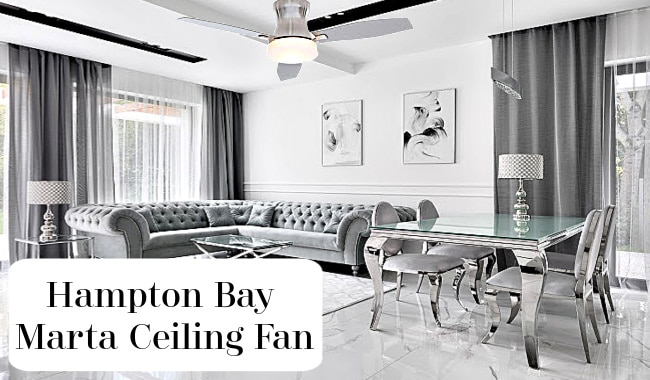 Hampton Bay Marta Ceiling Fan in Matching Living Room