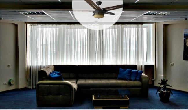 Hampton Bay Pendleton Ceiling Fan in Living Room