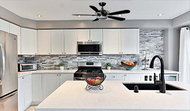 Hampton Bay Vercelli Ceiling Fan in Kitchen