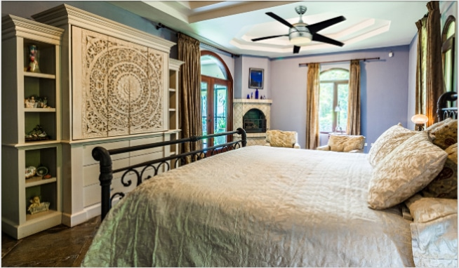 Hampton Bay Windward II 54 inch Ceiling Fan in Bedroom