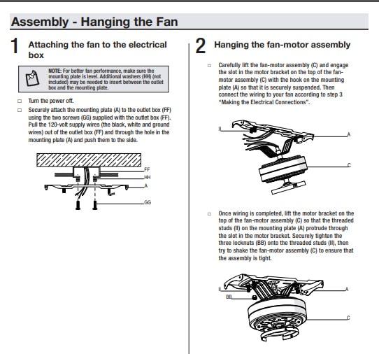 Hampton Bay Whitlock Ceiling Fan Illustrative Guide
